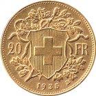Kleines Bild von Vreneli 20 SFRs 1935 B Gold
