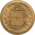 Kleines Bild von Helvetia 20 SFRs. 1886 gold