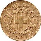 Kleines Bild von Vreneli 20 SFRs 1901 Gold