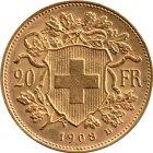 Kleines Bild von Vreneli 20 SFRs 1908 Gold