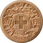 Kleines Bild von Vreneli 20 SFRs 1909 Gold