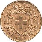 Kleines Bild von Vreneli 20 SFRs 1911 Gold
