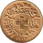 Kleines Bild von Vreneli 20 SFRs 1912 Gold