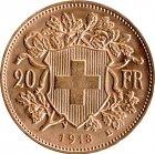 Kleines Bild von Vreneli 20 SFRs 1913 Gold