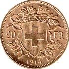 Kleines Bild von Vreneli 20 SFRs 1914 Gold