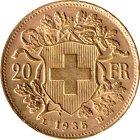 Kleines Bild von Vreneli 20 SFRs 1935 Gold