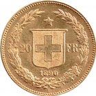 Kleines Bild von Helvetia 20 SFRs. 1890 Gold