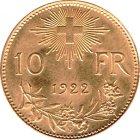 Kleines Bild von Vreneli 10 SFRs. 1922 Gold
