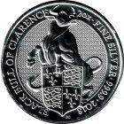 Kleines Bild von Queens Beast Bull of Clarence 2018 2oz Silber